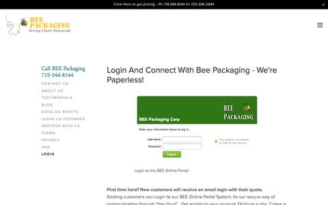 Screenshot of Login Page beepackaging.com - BEE Portal A Paperless Cloud Computing Business Company Accounting — BEE Packaging 719-344-8144 - captured May 31, 2017