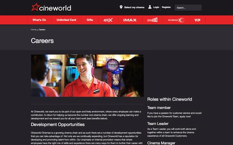 Screenshot of Jobs Page cineworld.co.uk - Careers - captured Sept. 21, 2018
