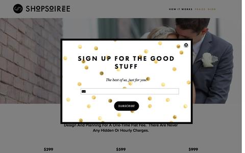 Screenshot of Pricing Page shopsoiree.com - Pricing — SHOPSOIREE - captured Feb. 28, 2016