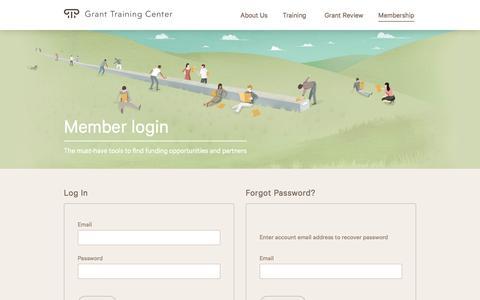 Screenshot of Login Page granttrainingcenter.com - Grant Training Center - Member Login - captured May 23, 2017