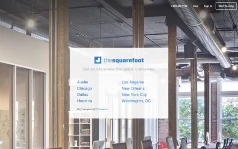 Screenshot of Home Page thesquarefoot.com - Find Your Next Office Space | Search, Lease and Rent | TheSquareFoot - captured July 17, 2014