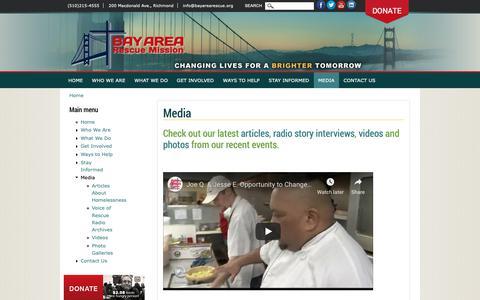 Screenshot of Press Page bayarearescue.org - Media   Bay Area Rescue Mission - captured Nov. 13, 2018