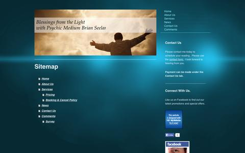 Screenshot of Site Map Page blessings-from-the-light.com - Home - Psychic Medium Brian Seelar - captured Oct. 6, 2014