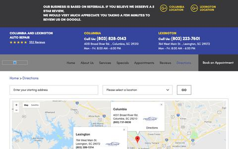 Screenshot of Maps & Directions Page kestnerautomotive.com - Directions - Kestner Automotive - captured Oct. 15, 2018