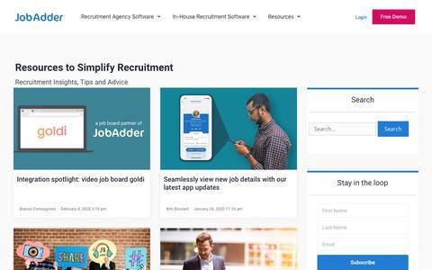 Screenshot of Blog jobadder.com - JobAdder Blog | JobAdder - captured Feb. 10, 2020