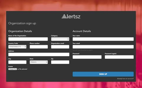 Screenshot of Signup Page alertsz.com - Sign Up - Alerts - captured Sept. 30, 2014
