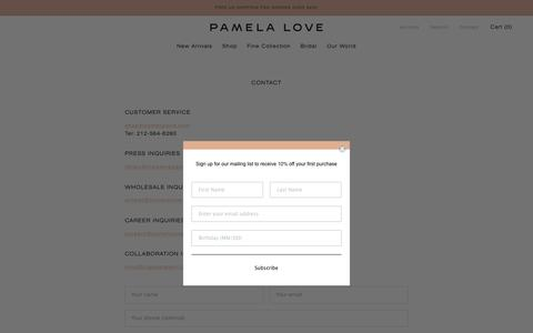 Screenshot of Contact Page pamelalove.com - Contact – Pamela Love - captured Nov. 8, 2019