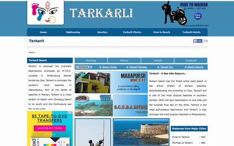 Screenshot of Home Page tarkarli.ind.in - Tarkarli - Tarkarli Beach - Sightseeing in Tarkarli - Tarkarli Tourism - SCUBA Diving in Tarkarli - Hotels in Tarkarli - captured May 28, 2016