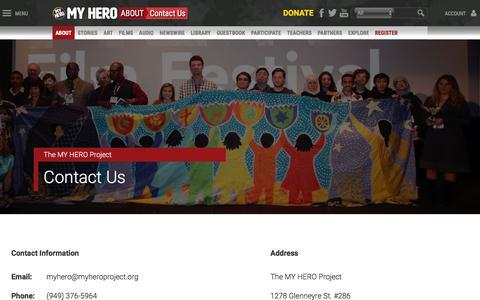 Screenshot of Contact Page myhero.com - Contact   MY HERO - captured Sept. 24, 2018
