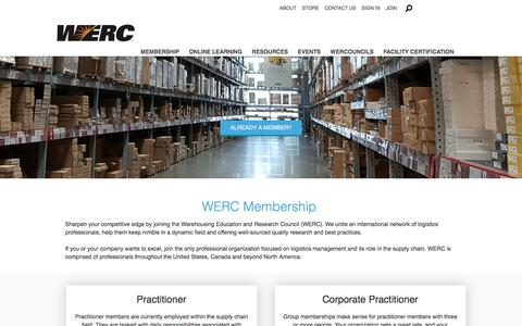 Screenshot of Signup Page werc.org - Membership - Warehousing Education and Research Council - captured Sept. 20, 2018