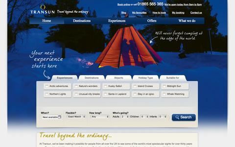 Screenshot of Home Page Site Map Page transun.co.uk - Tailor made holidays and specialist holidays | Transun - captured Oct. 7, 2014