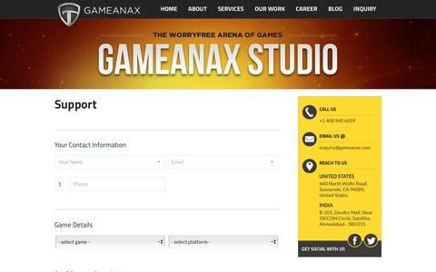 Screenshot of Support Page gameanax.com - Support - - captured July 16, 2018