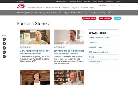 Screenshot of Case Studies Page adp.com - Accountant Partner Success Stories | ADP - captured May 19, 2017