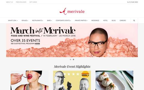 Screenshot of Home Page merivale.com.au - Merivale - Restaurants, Bars, Wedding Venues, Corporate Venues - Sydney - captured Feb. 9, 2016