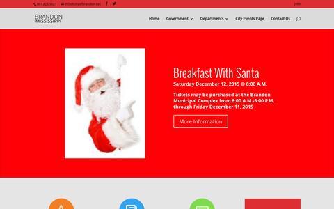 Screenshot of Home Page cityofbrandon.net - City of Brandon, Mississippi - captured Dec. 9, 2015