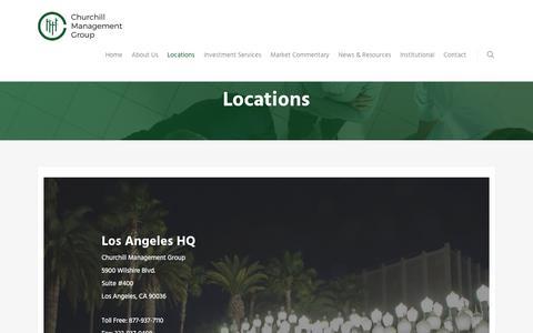 Screenshot of Locations Page churchillmanagement.com - Locations - Churchill Management Group - captured Feb. 17, 2018
