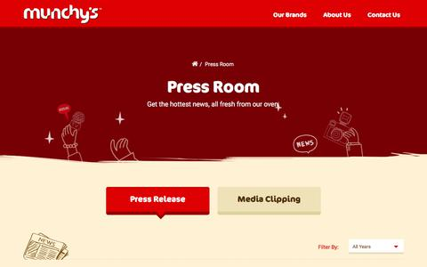Screenshot of Press Page munchys.com - Munchy's - Press Room - Press Release - captured June 18, 2017