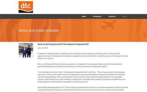 Screenshot of Press Page composites.nl - NEWS - DTC - captured Nov. 14, 2018