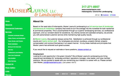 Screenshot of About Page mosierlawns.com - Mosier Lawns Indianapolis, IN Lawn & Landscaping Service - captured March 11, 2016