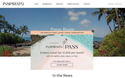 Screenshot of Press Page inspirato.com - Inspirato Press Room - captured Aug. 3, 2019