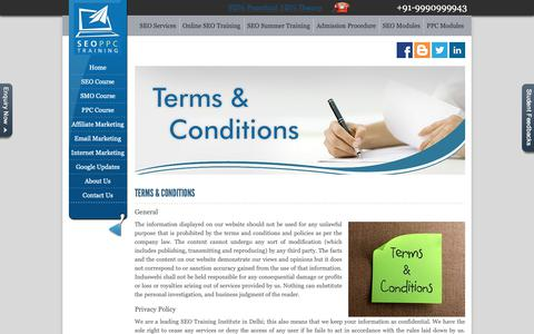 Screenshot of Terms Page seoppctraining.in - Terms and Conditions - captured April 19, 2019