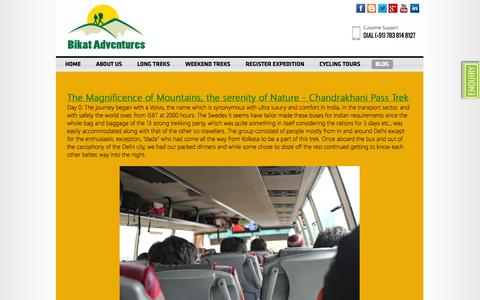 Screenshot of Blog bikatadventures.com - Bikat Adventure - Guide for Trekking, Cycling & Motorcycling Tours in India, Bikat Adventures Pvt. Ltd., Bike Tours, Motorbiking, MotorCycling, Cycling, Trekking, Tours, Long Treks, Weekend Treks, Uttarakhand, Himachal Pradesh, Ladakh - captured Oct. 5, 2014
