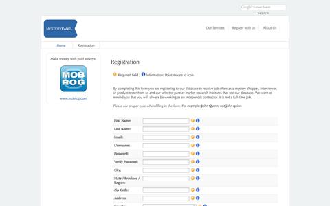 Screenshot of Signup Page mystery-panel.com - Registration - captured Oct. 1, 2014