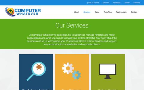 Screenshot of Services Page cwfixit.com - Computer Services Anoka MN   Computer Whatever - captured Jan. 30, 2016
