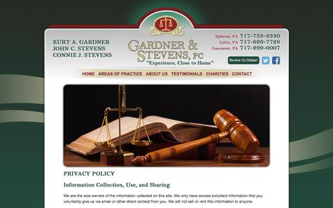 Screenshot of Privacy Page gardnerstevens.com - Privacy Policy | Gardner & Stevens PC | Lancaster PA - captured July 15, 2017