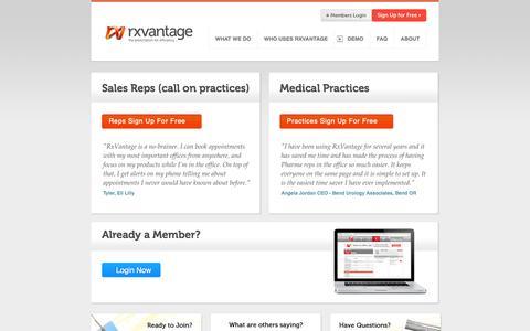 Screenshot of Signup Page rxvantage.com - Get Started | RxVantage.com - captured Sept. 17, 2014