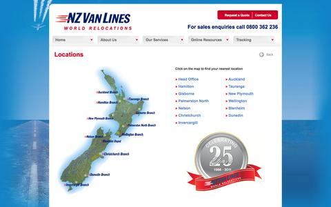 Screenshot of Contact Page Locations Page nzvanlines.co.nz - Removalists in New Zealand - Office Locations - NZ Van Lines - captured Oct. 26, 2014