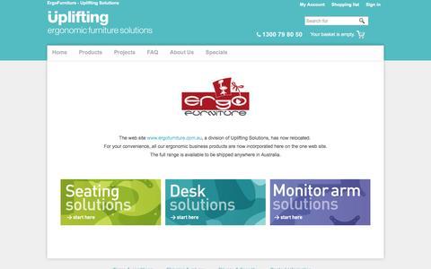 Screenshot of Products Page uplifting.com.au - ErgoFurniture - Uplifting Solutions - captured April 11, 2017