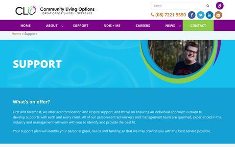 Screenshot of Support Page clo.org.au - Support   CLO - captured Sept. 29, 2018