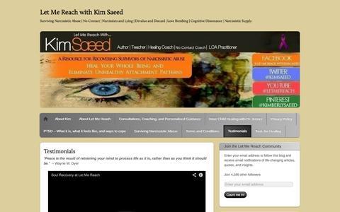 Screenshot of Testimonials Page letmereach.com - Testimonials | Let Me Reach with Kim Saeed - captured Nov. 4, 2014
