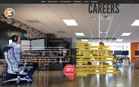 Screenshot of Jobs Page zeeto.io - Zeeto - captured Feb. 18, 2016