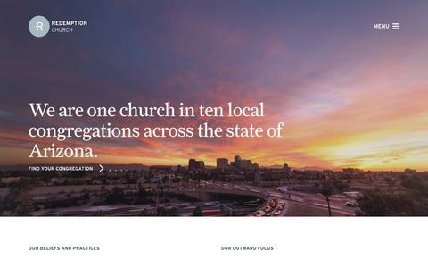 Screenshot of Home Page redemptionaz.com - Home - Redemption - captured Jan. 25, 2016
