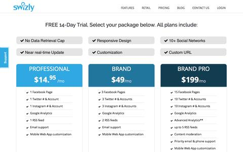 Screenshot of Pricing Page swizly.com - SWIZLY 3.0 | Pricing - captured Oct. 29, 2014