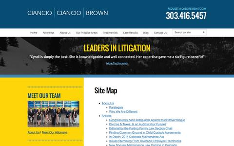 Screenshot of Site Map Page colo-law.com - Site Map | Ciancio Ciancio Brown, P.C. - captured Jan. 28, 2016