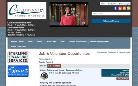 Screenshot of Jobs Page cottonwoodchamberaz.org - Job & Volunteer Opportunites - Cottonwood Chamber of Commerce,AZ - captured Jan. 13, 2017
