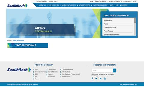 Screenshot of Testimonials Page sunilhitech.com - Video Testimonial | Sunil Hitech Engineers Limited India - captured Oct. 24, 2017