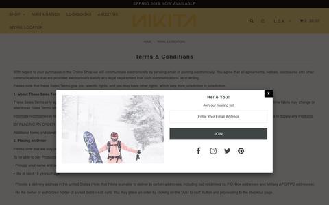 Screenshot of Terms Page nikitaclothing.com - Terms & Conditions – Nikita Clothing - captured April 30, 2018