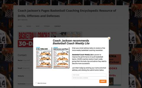 Screenshot of Contact Page coachjacksonspages.com - Contact | Coach Jackson's Pages Basketball Coaching Encyclopedic Resource of Drills, Offenses and Defenses - captured May 26, 2016