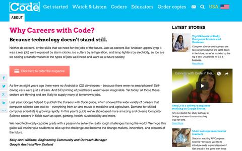 Screenshot of About Page careerswithcode.com - What is Careers with Code? - Careers with Code USA - captured July 8, 2018