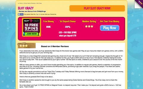 Screenshot of ohmybingo.com - Slot Crazy | 200% Welcome Bonus | 100 Free Spins - captured March 19, 2016