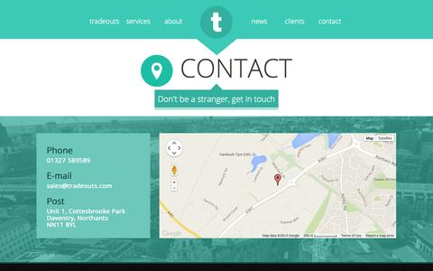 Screenshot of Contact Page tradeouts.com - contact » - captured Oct. 6, 2014