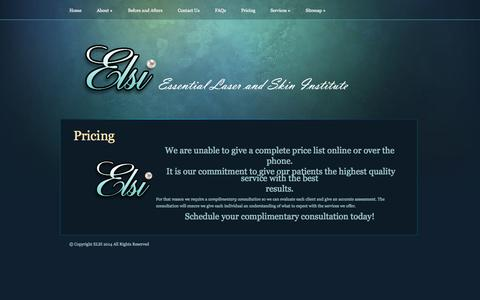 Screenshot of Pricing Page elsi-laser.com - Pricing | Essential Laser and Skin Institute | Worth it! - captured Oct. 2, 2014