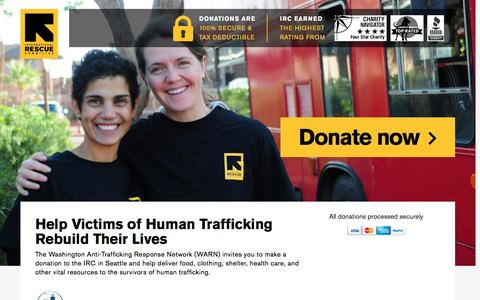 Screenshot of Landing Page rescue.org - Help Victims of Human Trafficking Rebuild Their Lives | International Rescue Committee - captured Nov. 27, 2016