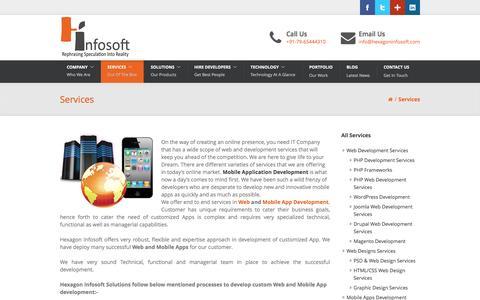 Screenshot of Services Page hexagoninfosoft.com - Mobile Application Development Services | Website Design Service | Website Development Services | Digital Marketing - SEO India - captured Sept. 6, 2016