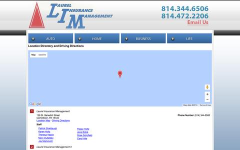 Screenshot of Locations Page limins.com - Laurel Insurance Management Locations and Driving Directions - captured Jan. 26, 2016