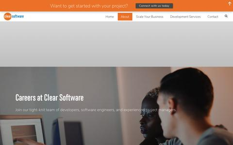 Screenshot of Jobs Page clearsoftware.ca - Careers | Clear Software - Full-Stack Developers in Waterloo - captured Sept. 28, 2018